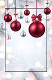 Shiny Christmas and New Year card with red Christmas balls. Shiny Merry Christmas and Happy New Year greeting card with frame, fir branches and red Christmas royalty free illustration