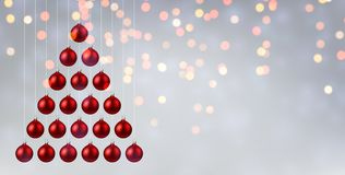 Shiny Christmas and New Year poster with red Christmas balls. Shiny Christmas and New Year poster with red Christmas balls in shape of Christmas tree. Vector vector illustration