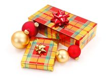 Shiny Christmas presents and ornaments Stock Image