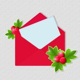 Shiny Christmas Red Envelope with Blank Paper Sheet. On Grey Background vector illustration