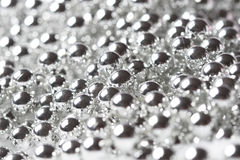 Shiny christmas silver pearl necklace Stock Image