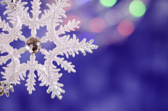 Shiny Christmas snowflake close-up. stock photo