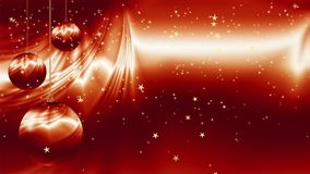 Red Christmas ornaments with golden stars falling stock video