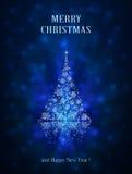 Shiny Christmas tree on blue background Royalty Free Stock Photos