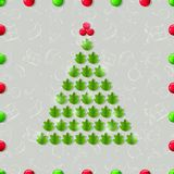 Shiny Christmas Tree Composed from Green Leaves. Stock Images