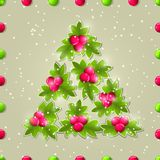 Shiny Christmas Tree Composed from Green Leaves. Royalty Free Stock Photography