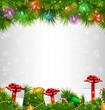 Shiny Christmas tree with gift boxes and led Christmas lights li. Ke frame on grayscale background Stock Image