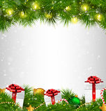 Shiny Christmas tree with gift boxes and led Christmas lights li. Ke frame on grayscale background Royalty Free Stock Photography
