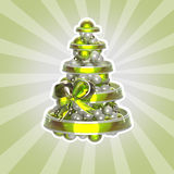 Shiny christmas tree made of balls and ribbons. Isolated with a white stroke Stock Image