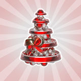 Shiny christmas tree made of balls and ribbons Stock Photos