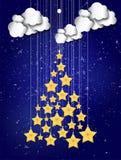Shiny Christmas tree made by stars for Merry Christmas celebrati Royalty Free Stock Photo