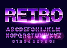 Shiny Chrome alphabet retro font. Sci-fi 80s future style. Shiny Chrome alphabet retro font. Sci-fi future style. Vector typeface for flyers, headlines, posters Royalty Free Stock Image