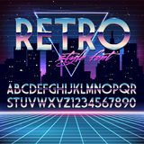 Shiny Chrome Alphabet in 80s Retro Futurism style. Vector font on cityscape background Royalty Free Stock Image