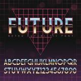 Shiny Chrome Alphabet in 80s Retro Futurism style Royalty Free Stock Image