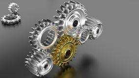 Shiny chrome gears Stock Photos