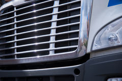 Shiny chrome grille of large semi truck Royalty Free Stock Image
