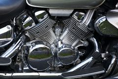 Shiny chrome plated motorcycle engine Royalty Free Stock Photography