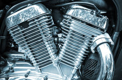 Shiny chromium-plated motorcycle engine Royalty Free Stock Photos
