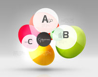 Shiny circles with text in 3d space. Abstract background Royalty Free Stock Image