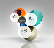 Shiny circles with text in 3d space. Abstract background Stock Images