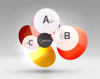 Shiny circles with text in 3d space Stock Image