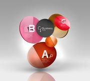 Shiny circles with text in 3d space. Abstract background Stock Photos