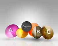 Shiny circles with text in 3d space Stock Photography