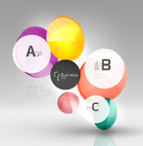 Shiny circles with text in 3d space Stock Photos