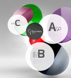 Shiny circles with text in 3d space Stock Images