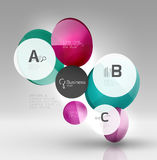 Shiny circles with text in 3d space Royalty Free Stock Image