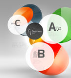 Shiny circles with text in 3d space Royalty Free Stock Photography