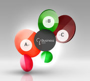 Shiny circles with text in 3d space. Abstract background Stock Photography