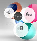 Shiny circles with text in 3d space Royalty Free Stock Images
