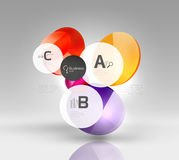 Shiny circles with text in 3d space. Abstract background Royalty Free Stock Photography