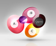 Shiny circles with text in 3d space Royalty Free Stock Photos