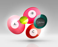 Shiny circles with text in 3d space. Abstract background Royalty Free Stock Photos