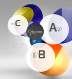 Shiny circles with text in 3d space. Abstract background Royalty Free Stock Photo