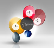 Shiny circles with text in 3d space Royalty Free Stock Photo