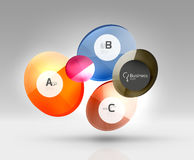 Shiny circles with text in 3d space. Abstract background Stock Photo