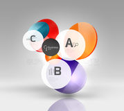 Shiny circles with text in 3d space Stock Photo