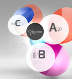 Shiny circles with text in 3d space. Abstract background Stock Image