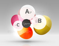 Shiny circles with text in 3d space. Vector abstract background Royalty Free Stock Photos