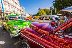 Shiny  classic vintage cars parked in Old Havana Royalty Free Stock Image
