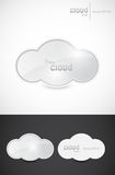 Shiny cloud signs. Illustration of shiny cloud signs on white and dark background Stock Photography