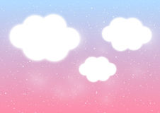 Shiny clouds on blue and pink background Stock Photography