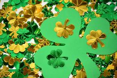 Shiny Clovers for St Patrick's Day Stock Image