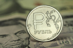 Shiny coin in one Russian ruble Royalty Free Stock Photography