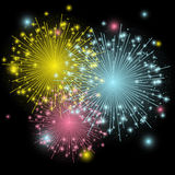 Shiny color fireworks Stock Photos