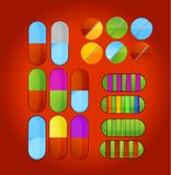Shiny colored medic pills symbols set Stock Photography