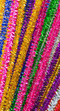 Shiny Colored Pipe Cleaners. Shiny pipe cleaners  in many bright colors Stock Photography